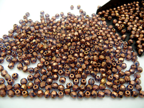 Crystal Bronze Luster coated (transparent), loose Czech Fire Polished Round Faceted Glass Beads