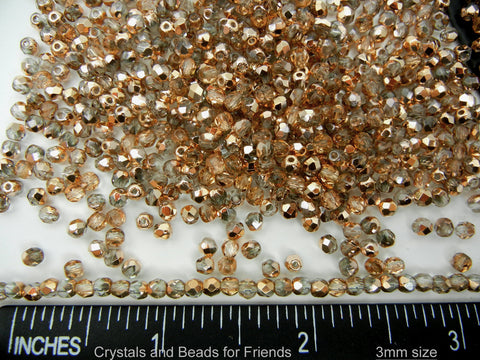 Crystal Capri Gold coated, loose Czech Fire Polished Round Faceted Glass Beads