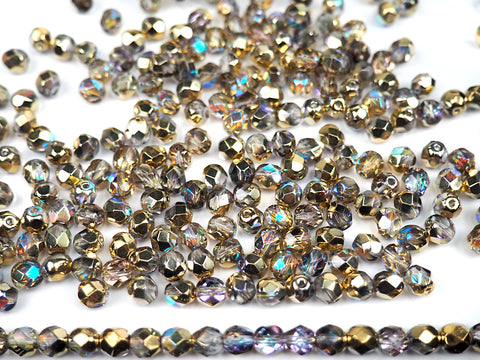Crystal Golden Rainbow coated, Czech Fire Polished Round Faceted Glass Beads, Aurum Rainbow