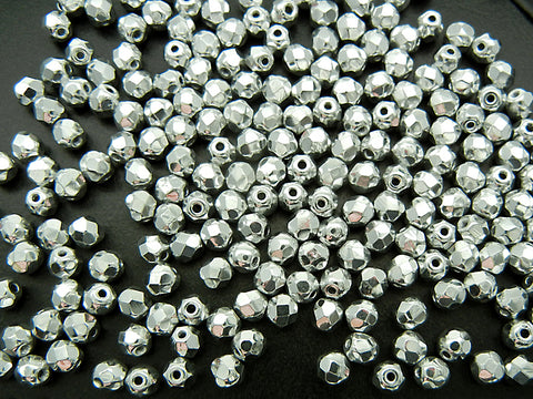 Crystal Labrador CAL2X fully coated, loose Czech Fire Polished Round Faceted Glass Beads