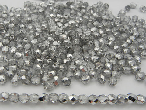 Crystal Labrador CAL half coated, loose Czech Fire Polished Round Faceted Glass Beads