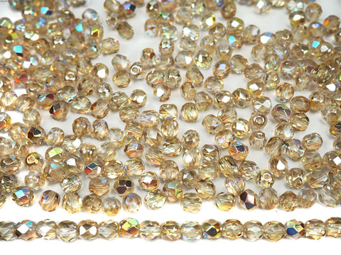 Crystal Lemon Rainbow coated, Czech Fire Polished Round Faceted Glass Beads