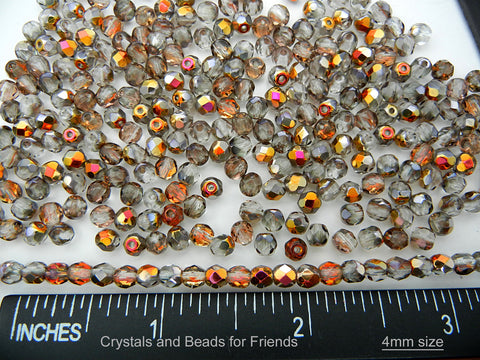 Crystal Santander coated, loose Czech Fire Polished Round Faceted Glass Beads