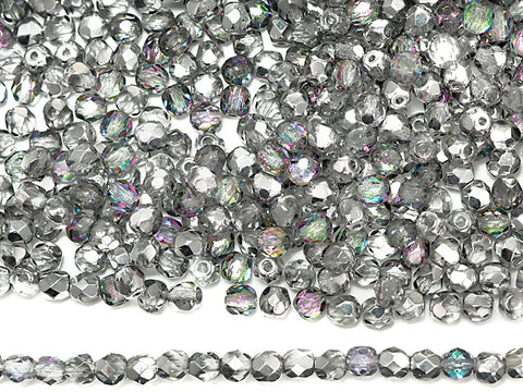 Crystal Vitrail Light Silver coated, loose Czech Fire Polished Round Faceted Glass Beads
