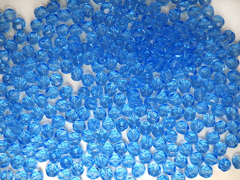 Light Sapphire color, loose Czech Fire Polished Round Faceted Glass Beads, blue