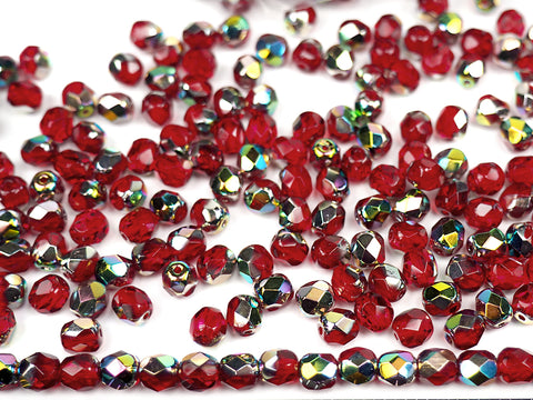 Light Siam Vitrail coated, loose Czech Fire Polished Round Faceted Glass Beads, red with Vitrail Medium coating