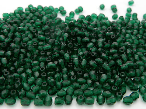Medium Emerald, loose Czech Fire Polished Round Faceted Glass Beads, green