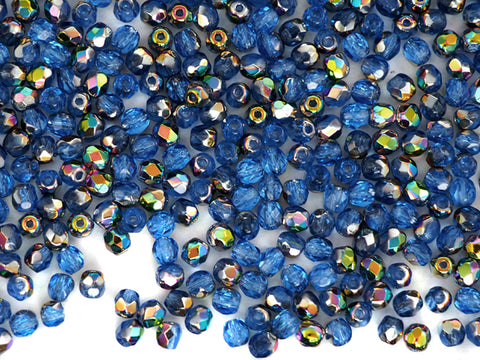 Sapphire VITRAIL coated, loose Czech Fire Polished Round Faceted Glass Beads, blue
