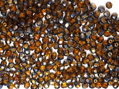 Topaz Santander coated, loose Czech Fire Polished Round Faceted Glass Beads