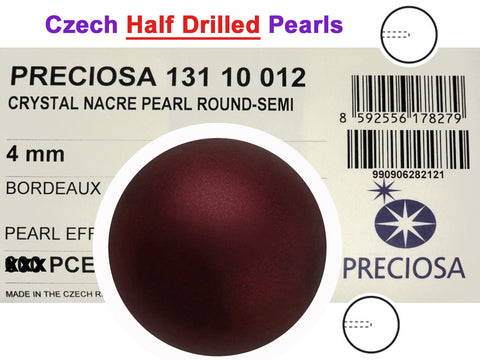 Czech Round Half Drilled Glass Imitation Pearls, Bordeaux Pearl color, size 4mm, 48 pieces
