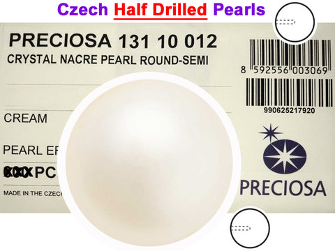 Czech Round Half Drilled Glass Imitation Pearls, Cream Pearl color, size 4mm, 6mm and 8mm
