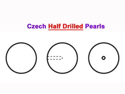 Czech Round Half Drilled Glass Imitation Pearls, Dark Grey Pearl color, size 4mm, 48 pieces