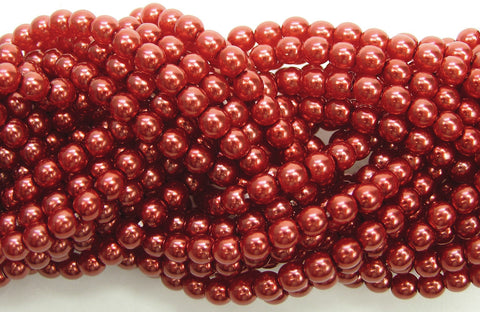 Czech Round Glass Imitation Pearls, Carnelian Red Pearl color