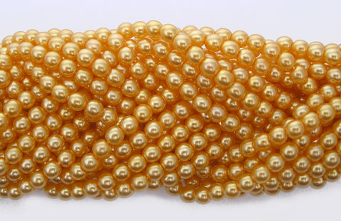 Czech Round Glass Imitation Pearls, Golden Pearl color