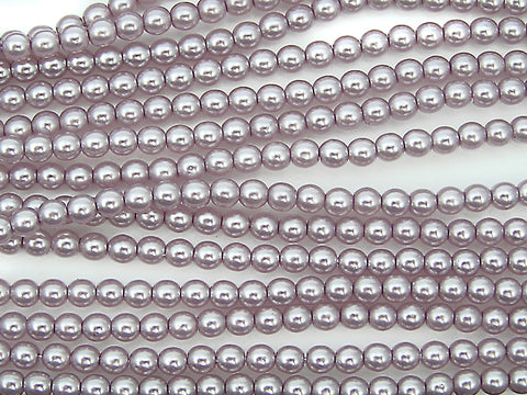 Czech Round Glass Imitation Pearls, Lilac Pearl color
