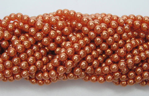Czech Round Glass Imitation Pearls, Orangy Coral Pearl color