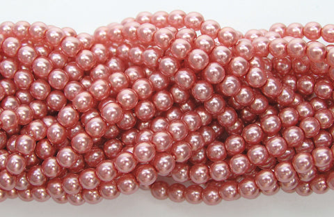 Czech Round Glass Imitation Pearls, Rose Pink Pearl color