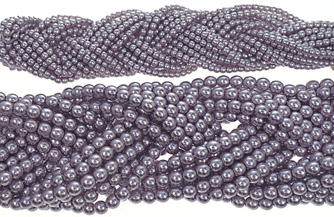 Czech Round Glass Imitation Pearls, Violet Nacre Pearl color