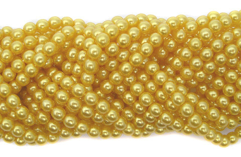 Czech Round Glass Imitation Pearls, Yellow Gold Pearl color