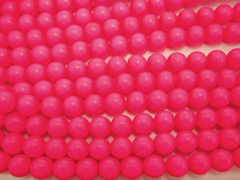 Czech Round Glass Imitation Pearls, Bright Pink Neon Pearl color