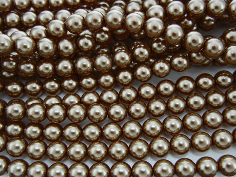 Czech Round Glass Imitation Pearls, Brown Pearl color