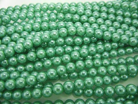 Czech Round Glass Imitation Pearls, Jade Green Pearl color