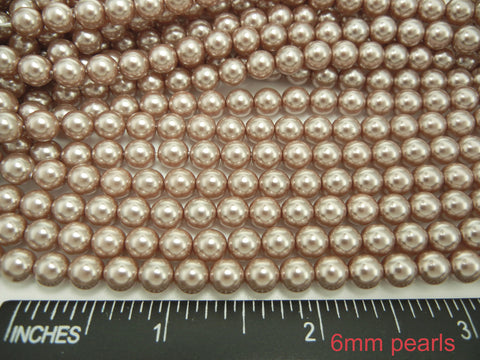 Czech Round Glass Imitation Pearls, Light Brown Pearl color