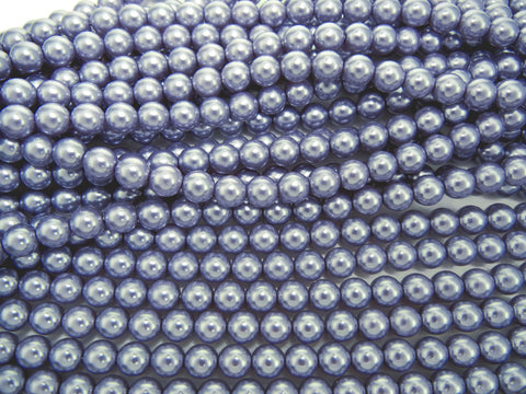 Czech Round Glass Imitation Pearls, Light Lavender Pearl color
