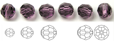 Amethyst, Czech Machine Cut Round Crystal Beads