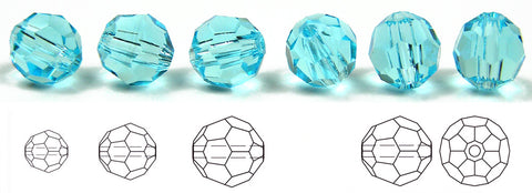 Aqua, Czech Machine Cut Round Crystal Beads (Aqua Bohemica)