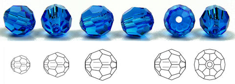 Czech Glass Machine Cut Faceted Round Crystal Beads Capri Blue blue crystals