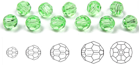 Chrysolite, Czech Machine Cut Round Crystal Beads