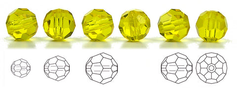 Citrine, Czech Machine Cut Round Crystal Beads