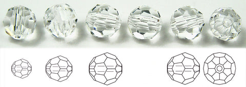 clear Crystal, Czech Machine Cut Round Crystal Beads