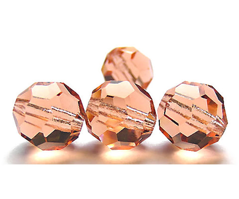 Light Peach, Czech Machine Cut Round Crystal Beads