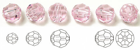 Light Rose, Czech Machine Cut Round Crystal Beads