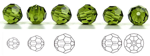 Olivine, Czech Machine Cut Round Crystal Beads