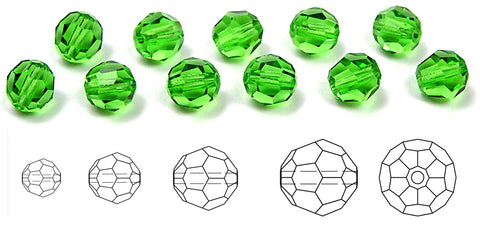 Peridot, Czech Machine Cut Round Crystal Beads