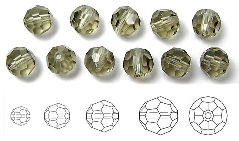 Black Diamond, Czech Machine Cut Round Crystal Beads