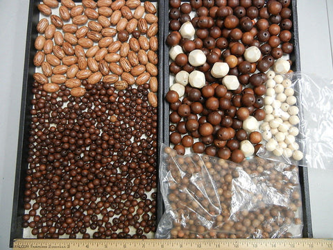 large lot of various wooden beads in mint condition