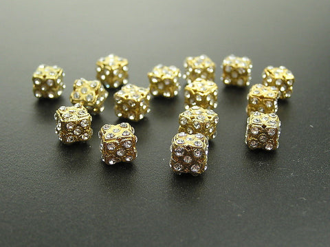 12 vintage unique Czech Rhinestone Fancy Cubes 8x8mm clear Crystal Gold Plated