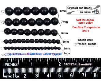 'Czech Round Smooth Pressed Glass Beads in Clear Crystal, 2mm, 3mm, 4mm, 6mm, 7mm, 8mm Druk Bead
