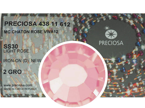 Light Rose HOTFIX, 288 Preciosa Genuine Czech Crystals 30ss Viva12 Iron-on, ss30,6.5mm