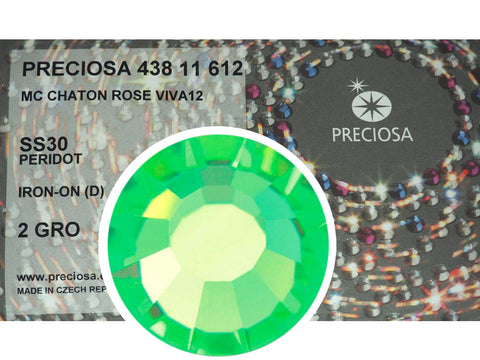 Peridot HOTFIX, 288 Preciosa Genuine Czech Crystals 30ss Viva12 Iron-on, ss30,6.5mm