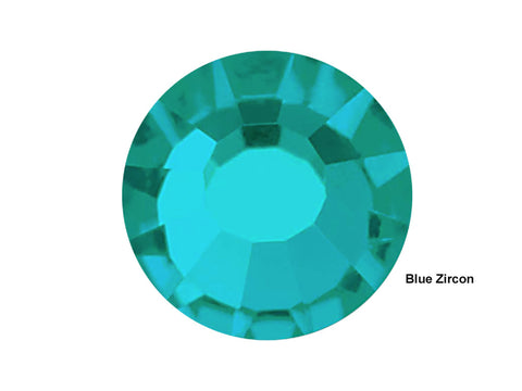 Blue Zircon, Preciosa Viva Chaton Roses Article 438-11-612 (Viva12 Rhinestone Flatbacks), Genuine Czech Crystals, blue green color