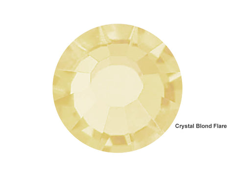 Crystal Blond Flare, Preciosa Viva Chaton Roses Article 438-11-612 (Viva12 Rhinestone Flatbacks), Genuine Czech Crystals, clear with light yellow golden coating