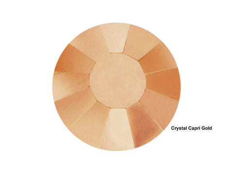 Crystal Capri Gold, Preciosa Viva Chaton Roses Article 438-11-612 (Viva12 Rhinestone Flatbacks), Genuine Czech Crystals, clear coated with rose gold metallic