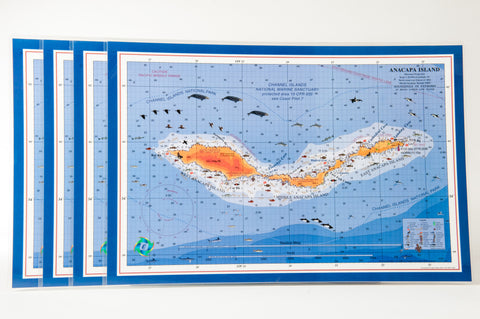 Anancapa Island nautical chart art placemat