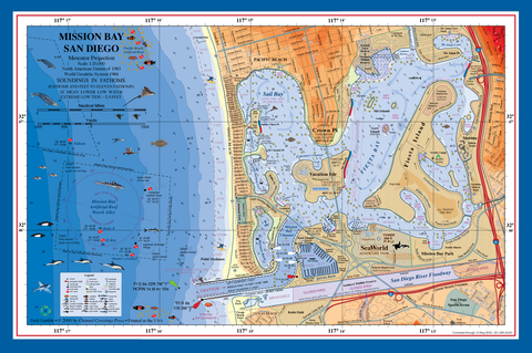 San Diego Mission Bay nautical chart art