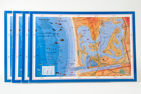 San Diego Mission Bay nautical chart art placemat